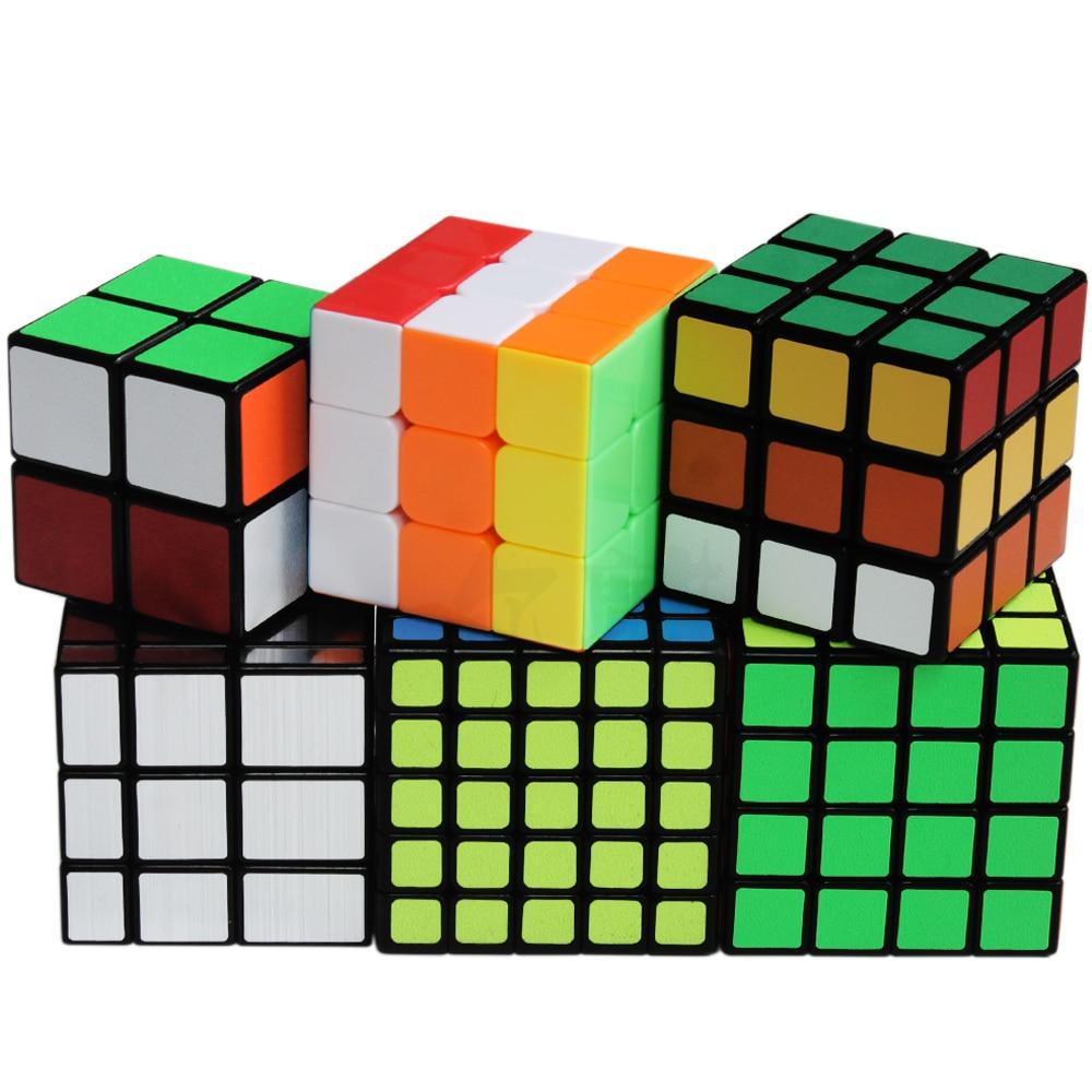 6 pièces/ensemble 2x2 3x3 4x4 5x5 Puzzle Cube magique 3*3 2*2 4*4 5*5 Cubes miroir ShengShou Cubo Megico Cubes Antistress enfants Anti-stress