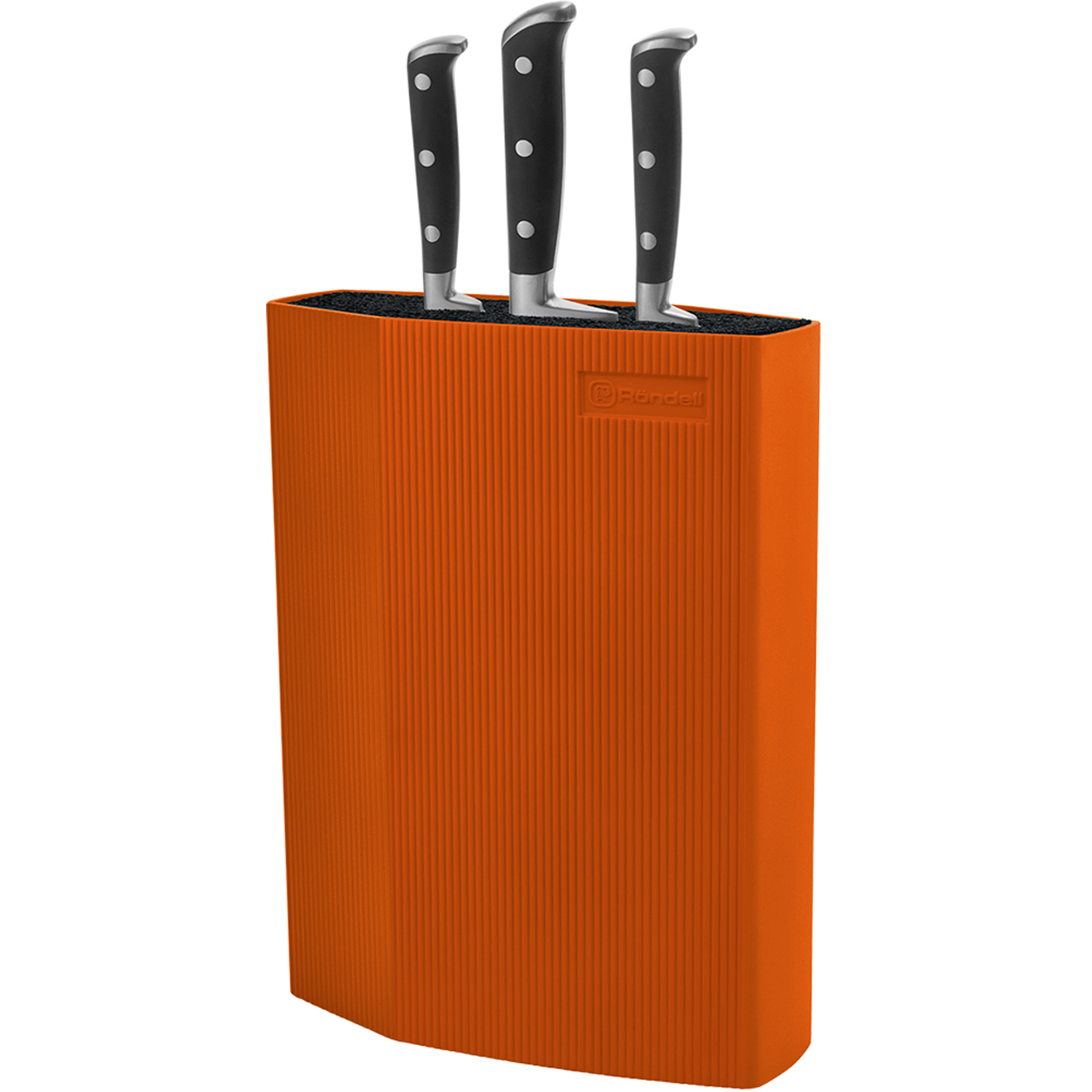 Stand for knives Rondell Orange RD-470 (Stand is made of ABS plastic with external plated SoftTouch, able to wash in the dishwasher, orange color) lo 17162003jn