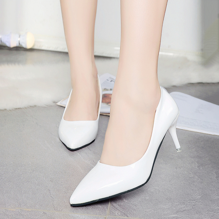 Women Shoes Pumps Pointed-Toe High-Heels Candy-Color Patent Leather Plus-Size 42 Dress