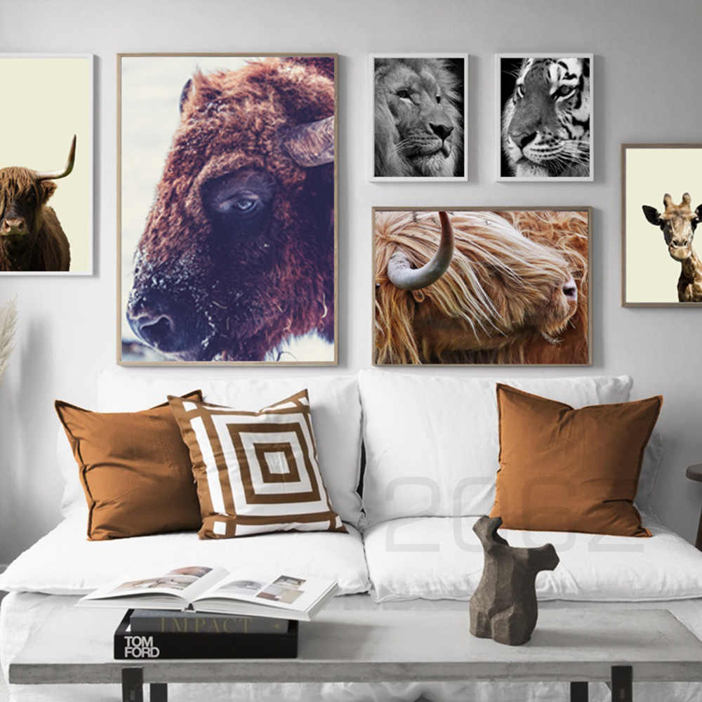 Black White Nordic Posters Highland Cow Giraffe Tiger Lion Animals Wall Art  Canvas Painting Wall Pictures For Living Room Decor