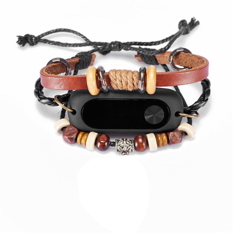 Beading Bracelet Strap Replacement For Xiaomi Mi Band 2 Smart Wristband Brown Jun21 Professional Drop Shipping Factory Price