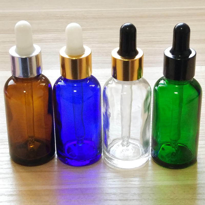 30ml Blue/Amber/Green/Clear Glass Bottles With Glass Dropper! If You Order Over 200pcs, Price 20%off !