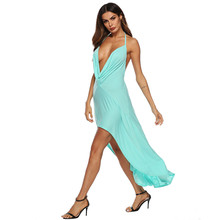 2019 Fashion Sexy Dress Women Solid Halter Deep V-Neck Backless Asymmetric Beach Long Dress Vestidos Dropshipping