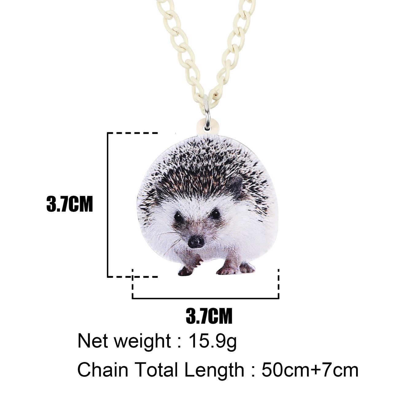 Bonsny Akrilik Abu-abu Lucu Landak Liontin Kalung Rantai Kalung Fashion Hewan Peliharaan Perhiasan untuk Wanita Perempuan Pesona Banyak Hadiah Pesta