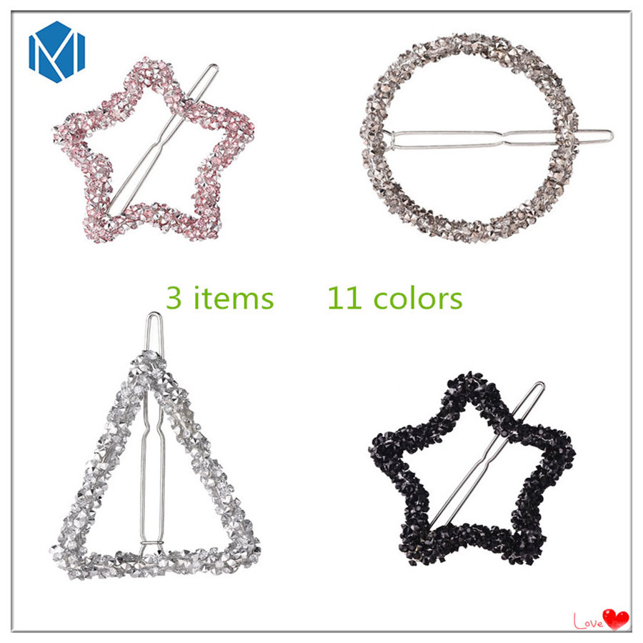 M MISM Spark Rhinestones 11 colors Star Circle Hairgrip for Girls Kids Crystal Hairpins Hair Accessories Ornaments Hair Clips spark storage bag portable carrying case storage box for spark drone accessories can put remote control battery and other parts