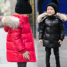 2017 New Girls Winter Jackets Fashion Big Fur Collar Hooede Solid Long Jacket Winter Jacket Boy For 3-12 yeas