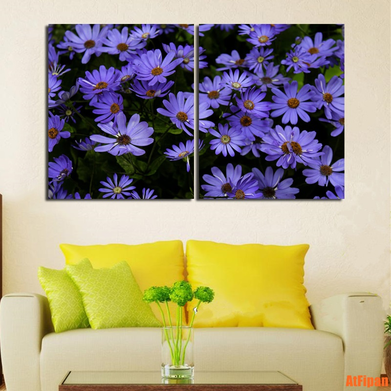 Purple Flowers Printed Not Framed Canvas Painting Living Room Wall Pictures Print Poster Vertical Rectangle 2 Pieces Printing in Painting Calligraphy from Home Garden