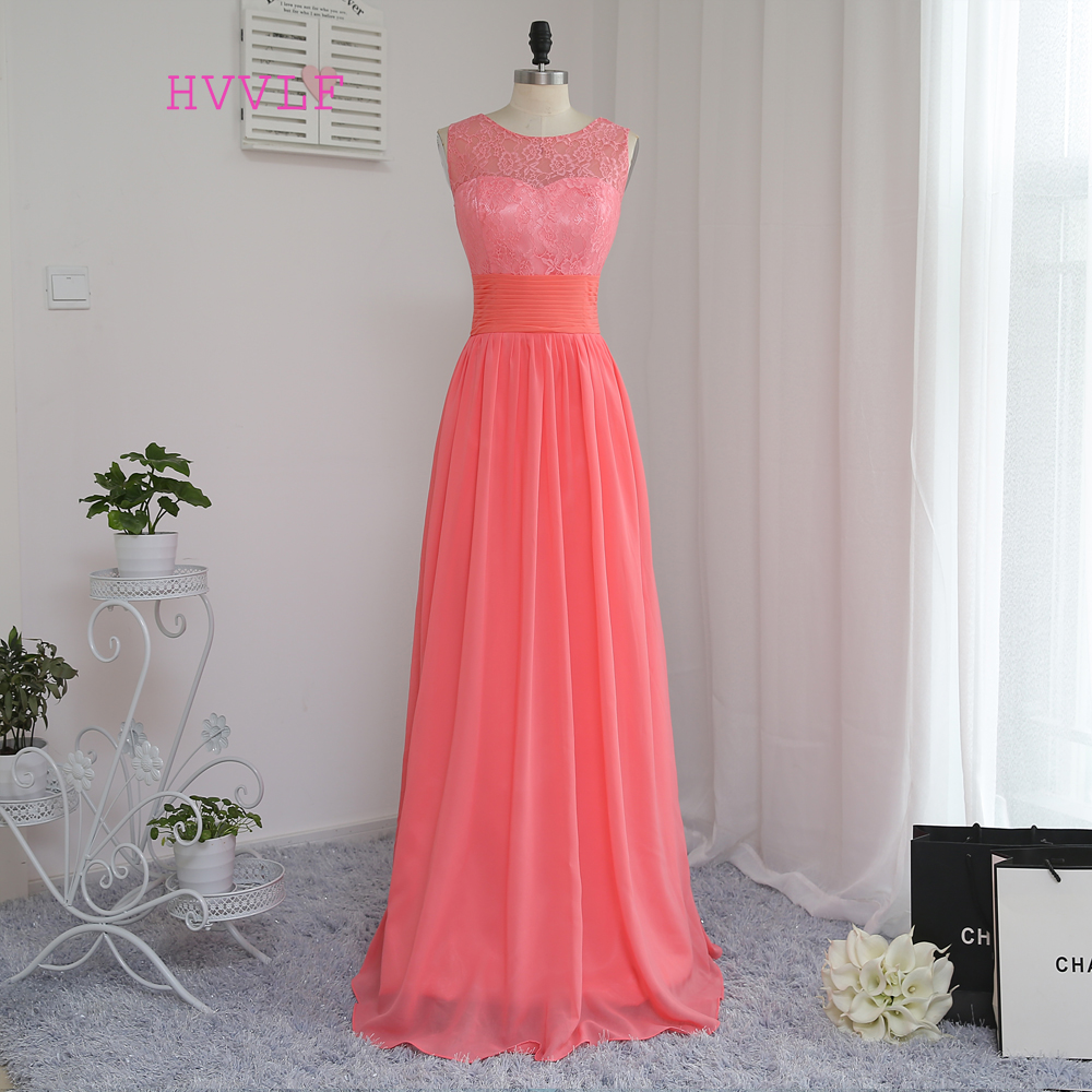 2019 Cheap   Bridesmaid     Dresses   Under 50 A-line Scoop Floor Length Coral Chiffon Lace Wedding Party   Dresses
