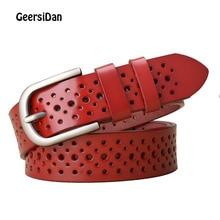 GEERSIDAN New Designer women genuine leather belt Casual brand hollow 3.3cm width for ladies Fashon pin buckle female