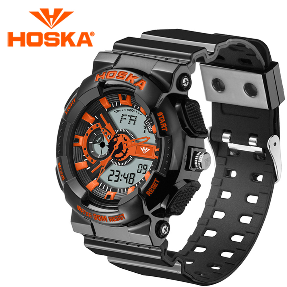 Brand HOSKA Men s watches sport Quartz watch and digital Double display digital watch gig LED