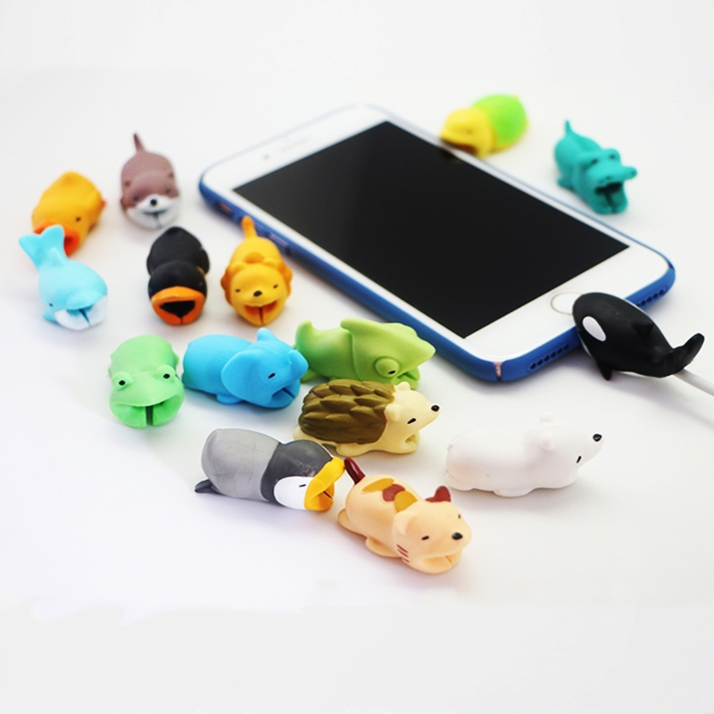 Cute Cable Bite Protector for Iphone cable Winder Phone holder Accessory cable biters dog rabbit cat Animal doll squishy toys