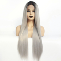 Long Straight Ombre Ash Grey Blonde Wig Synthetic Lace Front Wig with Baby Hair Heat Resistant Wigs for Women