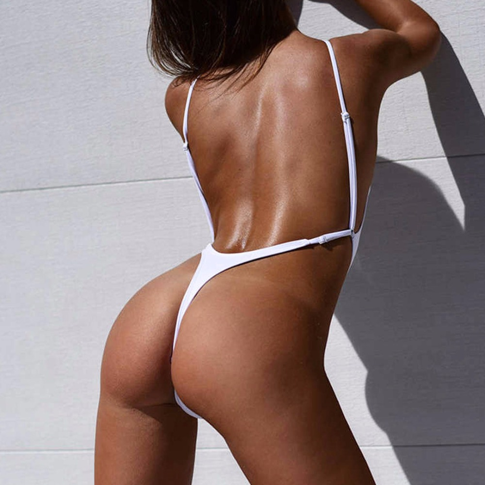 New Sexy White High Cut Leg Thong Swim Suit For Women Swimwear One Piece Swimsuit Female Bather 2018 Bathing Suit Monokini K478-in Body Suits from Sports & Entertainment on AliExpress