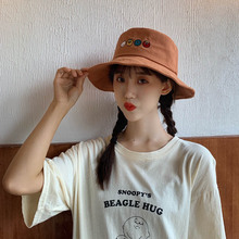 Women Fashion hat Concise Casual Cartoon Pattern Cute Travel Folding Sunscreen Bucket Hat