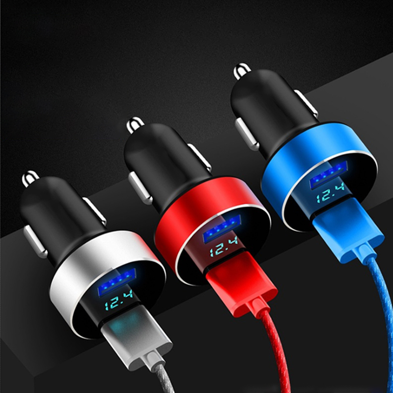 Mini Dual USB Car Charger With LED Display Voltage