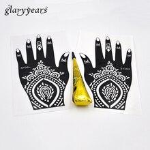 1 Pair Hands Henna Stencil + 1 Piece Black Color Henna Paste Women Body Art Painting Hollow Mehndi Tattoo Stencil Gift Temporary