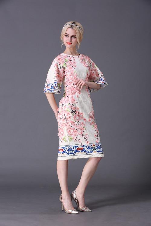 XXXXL Women Plus Size Dress 2017 Spring Women Appliques Floral Print Flare Sleeve Elegants Party Boutique Shop Designer Dresses