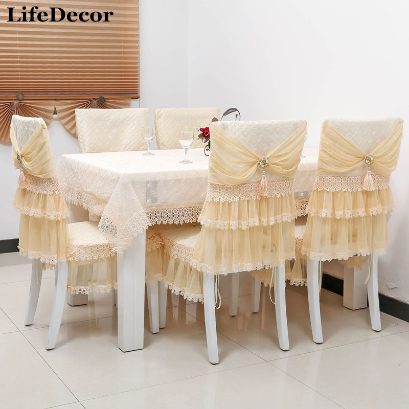 Quality Dining Table Cloth Tablecloth Chair Covers Cushion Fashion Lace Set