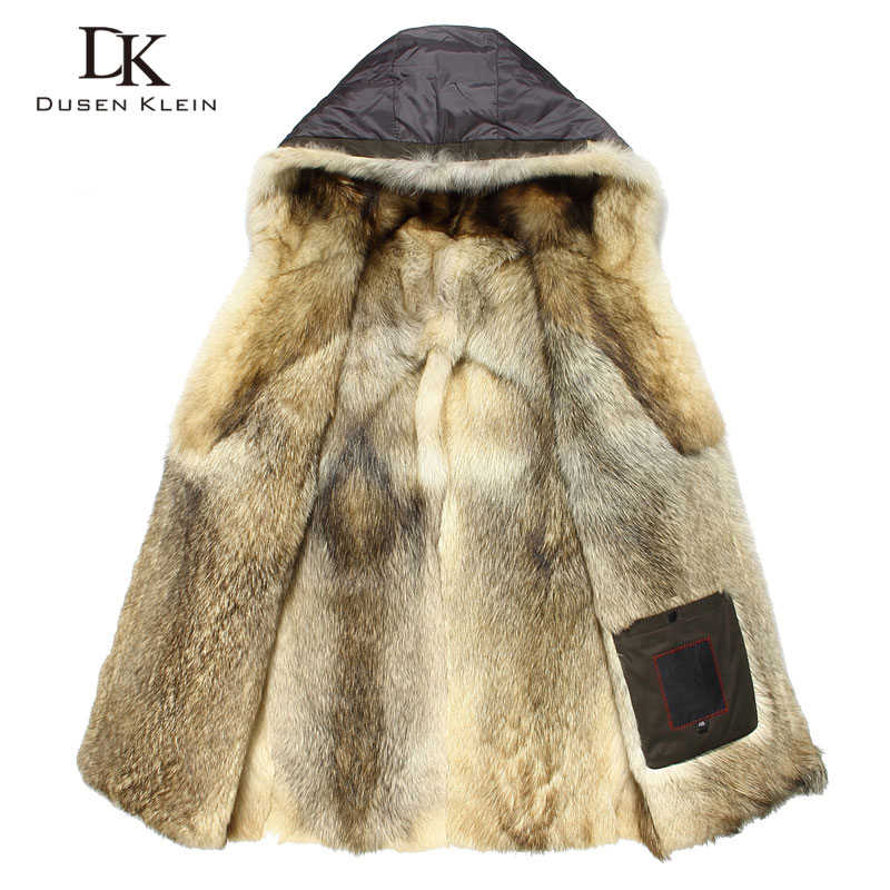 Luxury Wolf fur for men Thick jackets long coats Designer fashion Warm designer the winter Warm luxury hooded jackets E1125A