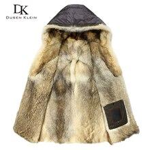 Luksusowe wilk futro dla mężczyzn grube kurtki długie kurtki projektant mody ciepłe projektant zimowe ciepłe luksusowe kurtki z kapturem E1125A