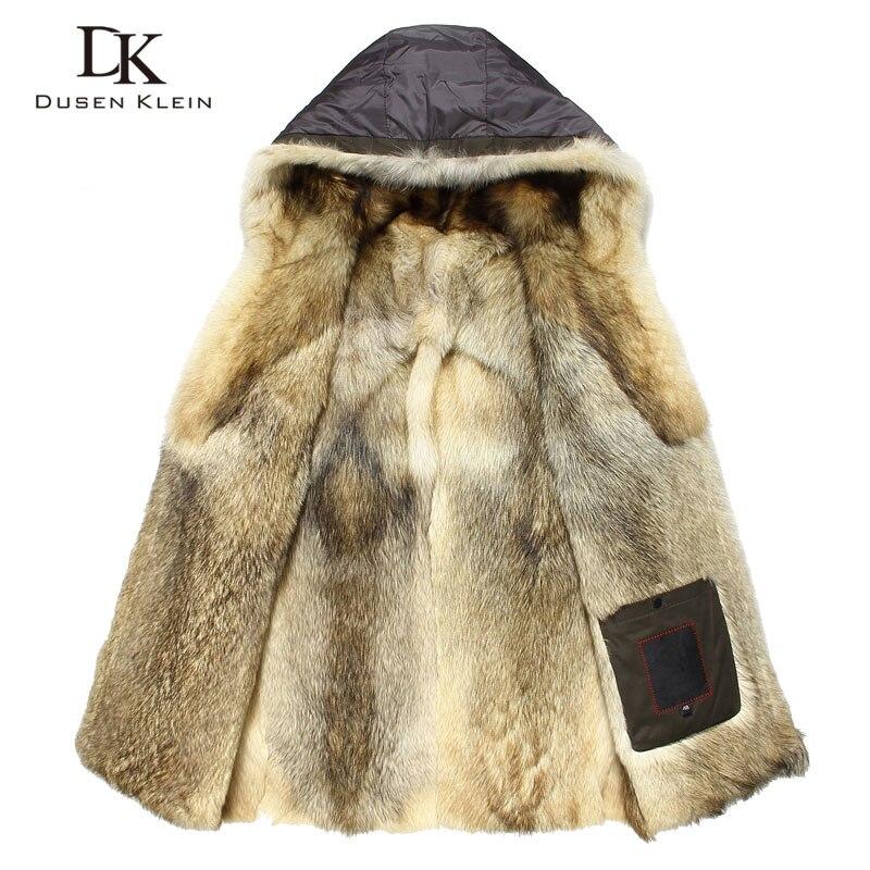 Luxe fourrure de Loup pour les hommes Épais vestes manteaux longs Designer de mode Chaud designer hiver Chaud de luxe à capuchon vestes E1125A