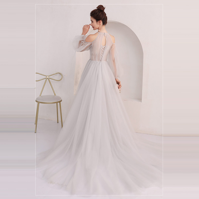 d8e5b668c89 Traje de fiesta 2019 cuello media manga transparente encaje bordado vestido  largo vestido de noche vestido