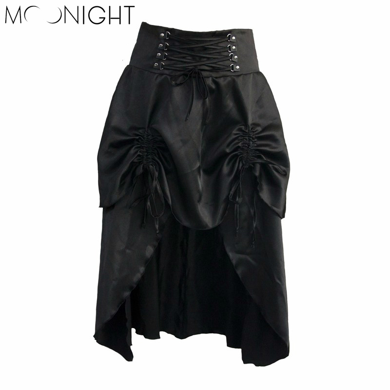 MOONIGHT Skirt Women Sexy Pleated Corset Skirt Lace-Up Slim Mini Vintage trumpet sexy gothic style