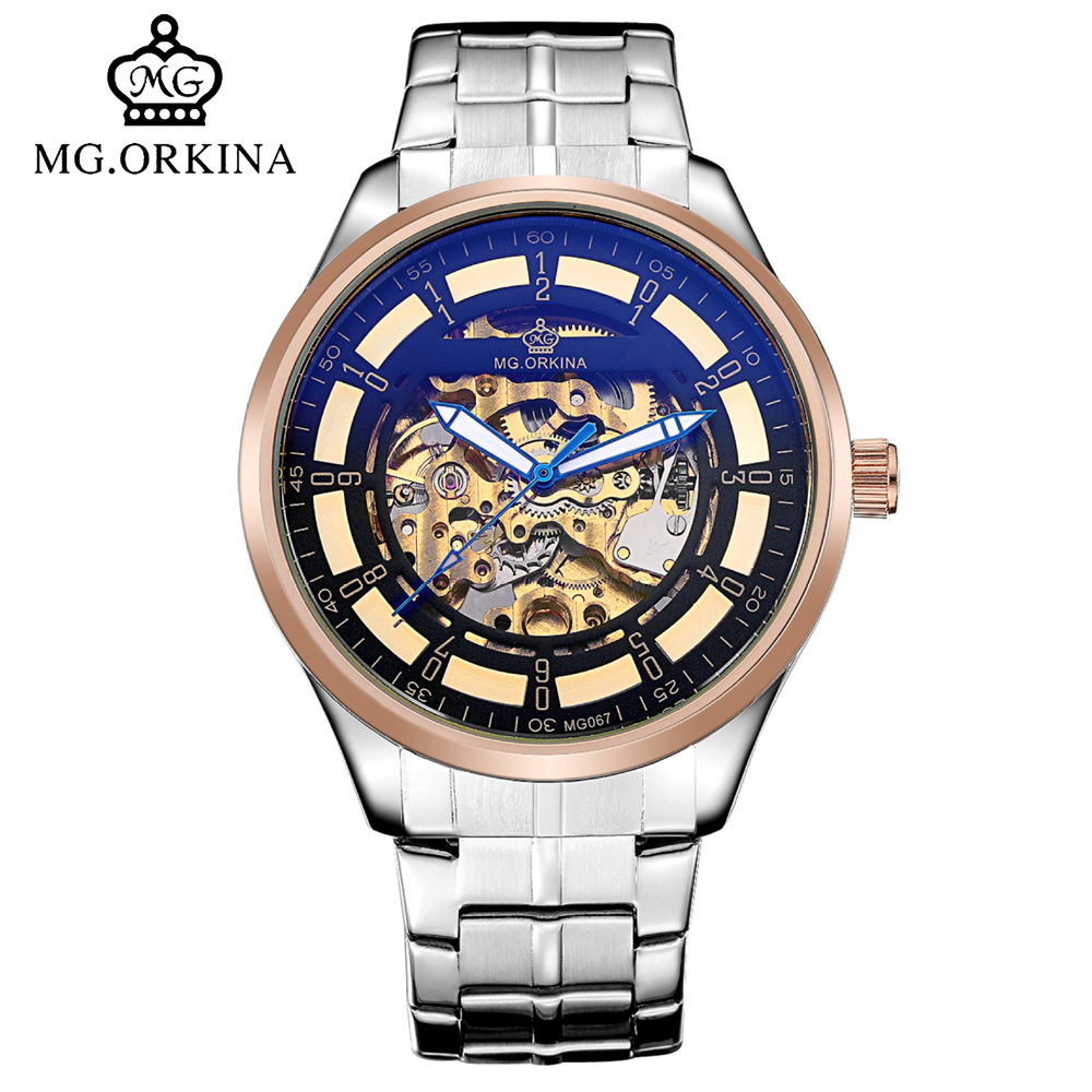 Mg.orkina Rose Gold Skeleton Automatic Self Wind Watches Men Mechanical Transparent Fashion Wrist Watch montre automatique homme royal carving ks rose gold skeleton automatic self wind wristwatch male fashion clock leather strap mechanical watch gift ks294