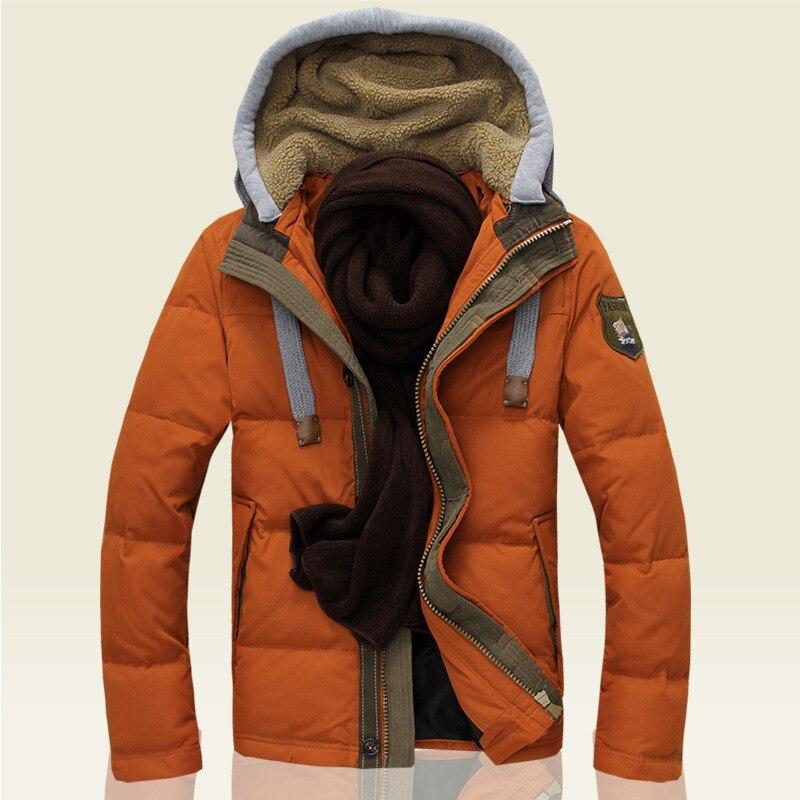 2016 New Fashion Men autumn and winter leisure Hooded Jacket White eiderdown thickened Lapel Coat