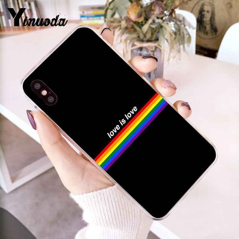 Yinuoda LGBT amor es amor al cliente de alta calidad caja del teléfono para iPhone 7 6 6S Plus X XS X MAX 5 5S SE XR 10 cubierta Capa