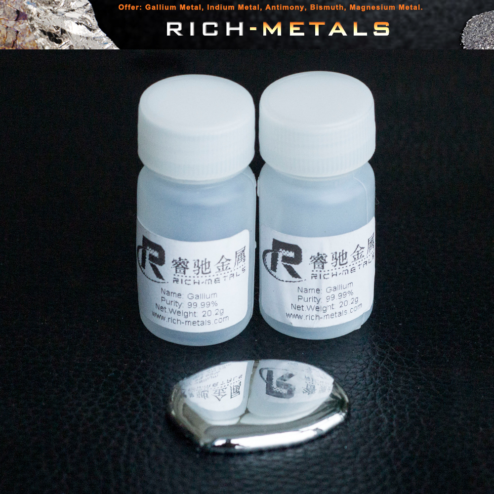 Gallium metal 99.99% Pure 20 Grams Liquid Gallium Element 31Gallium metal 99.99% Pure 20 Grams Liquid Gallium Element 31