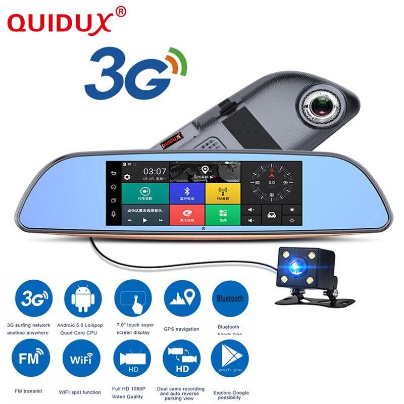 QUIDUX 3G Voiture DVR + Android 5.0 Bluetooth GPS FM émetteur Double lentille rétroviseur caméra Full 1080 P automovil