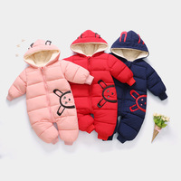 Newborn Baby Solid Color Thick Winter Warm Bodysuits Cartoon Print Hooded Baby Rompers Bodysuits