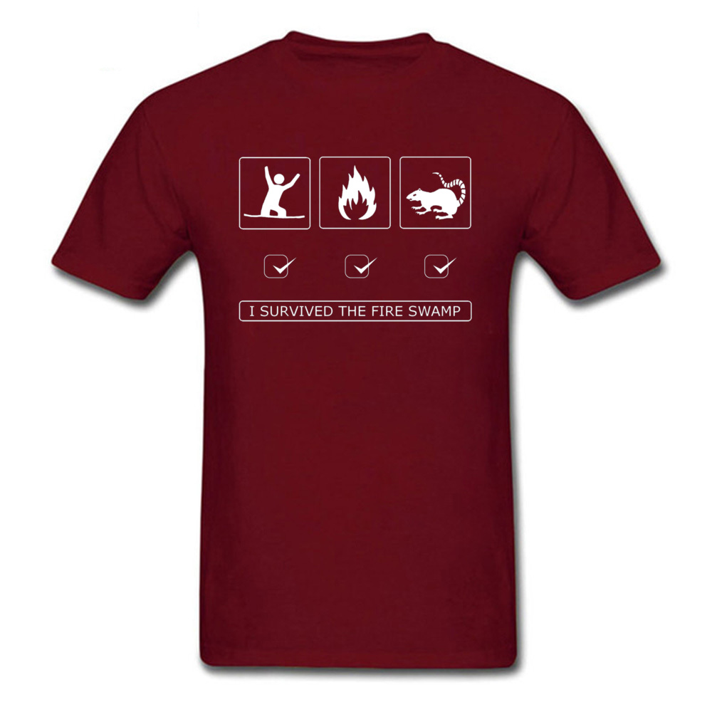 Discount Man Top T-shirts Customized Summer Tops & Tees 100% Cotton Short Sleeve Europe T-Shirt Round Neck Top Quality I survived the fire swamp 3004 maroon