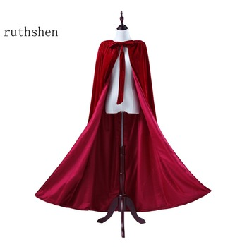 ruthshen Velour Bridal Cape Burgundy Halloween Cloaks Hooded Ankle Length Red  Black Ivory Long Wraps Cheap Real Photo In Stock