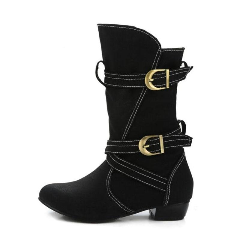 Couleur mollet Bottes Chaussures D'hiver Vintage Plus Appartements Boucle Coolcept 45 Bout Rond Solide Chaudes Taille marron 34 Femmes Mi Noir SUzMpV