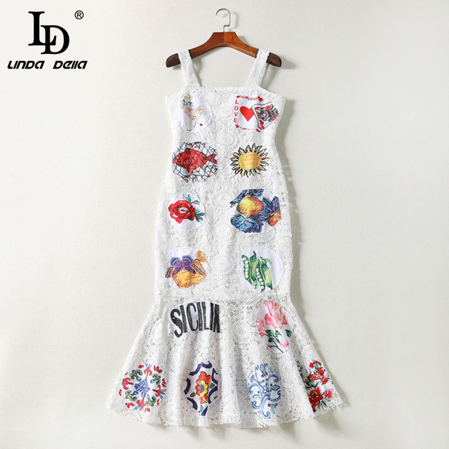 Runway Designer Summer Dress Women's Spaghetti Strap Hollow out Backless Elegant White Lace Bodycon Dress
