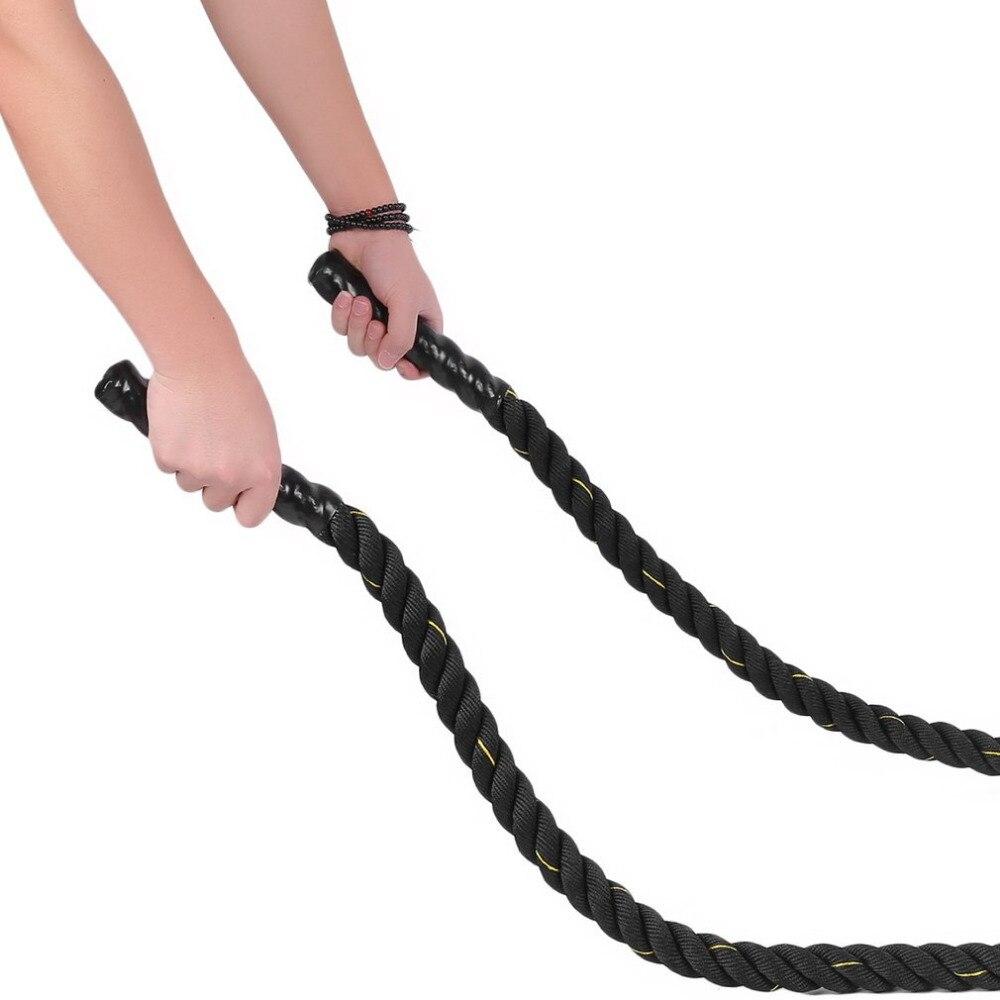 Musculation 38mm 12 m/15 m Poly Dacron bataille corde exercice entraînement force Cardio entraînement ondulation Fitness corde noir - 2
