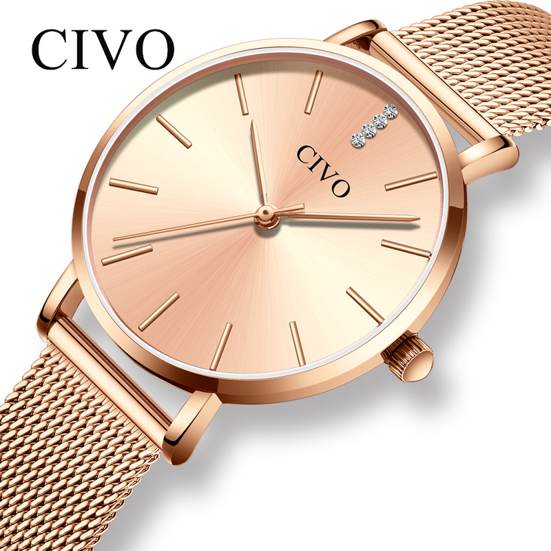 CIVO Luxury Top Brand Women Watches Fashion Steel Mesh Strap WlristWatch Gold Waterproof Quartz Clock  Rhinestone Bracelet WatchCIVO Luxury Top Brand Women Watches Fashion Steel Mesh Strap WlristWatch Gold Waterproof Quartz Clock  Rhinestone Bracelet Watch