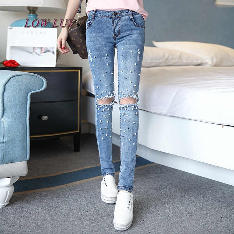 New women jeans 2017 hole ripped jeans pencil pants Embroidered Flares hollow out washed jeans boyfriends jeans pant femme AL970