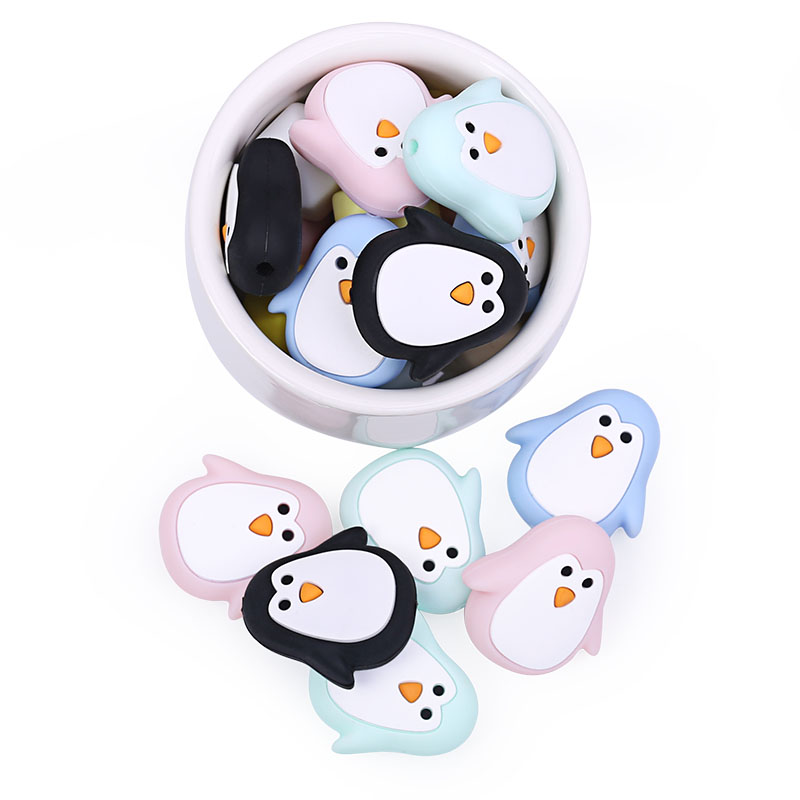 Chenkai 10PCS Silicone Penguin Teether Beads DIY Baby Animal Cartoon Chewing Pacifier Dummy Sensory Jewelry Gift Toy Accessories