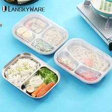 LANSKYWARE Japanese Bento Box 304 Stainless Steel Lunch With Compartments Kids Food Container For School Picnic Set