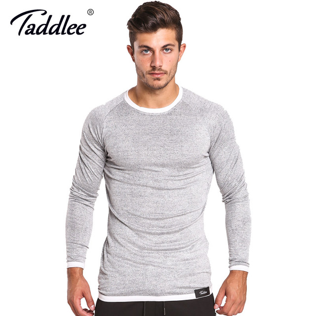 Taddlee Brand Men Long Sleeve T Shirts Solid Color Casual O Neck Sweatshirt  Slim Fit Top c2c1a96b24c