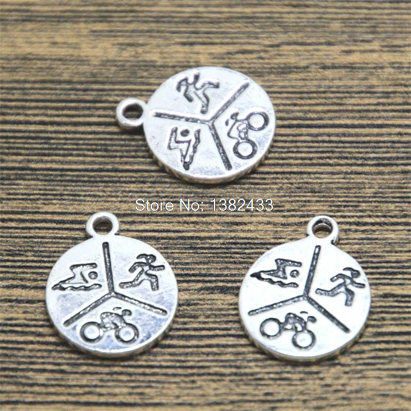 Pack Of  10 Pcs Letter Charms Antique Tibetan Silver Tone 2 Sided TE1017