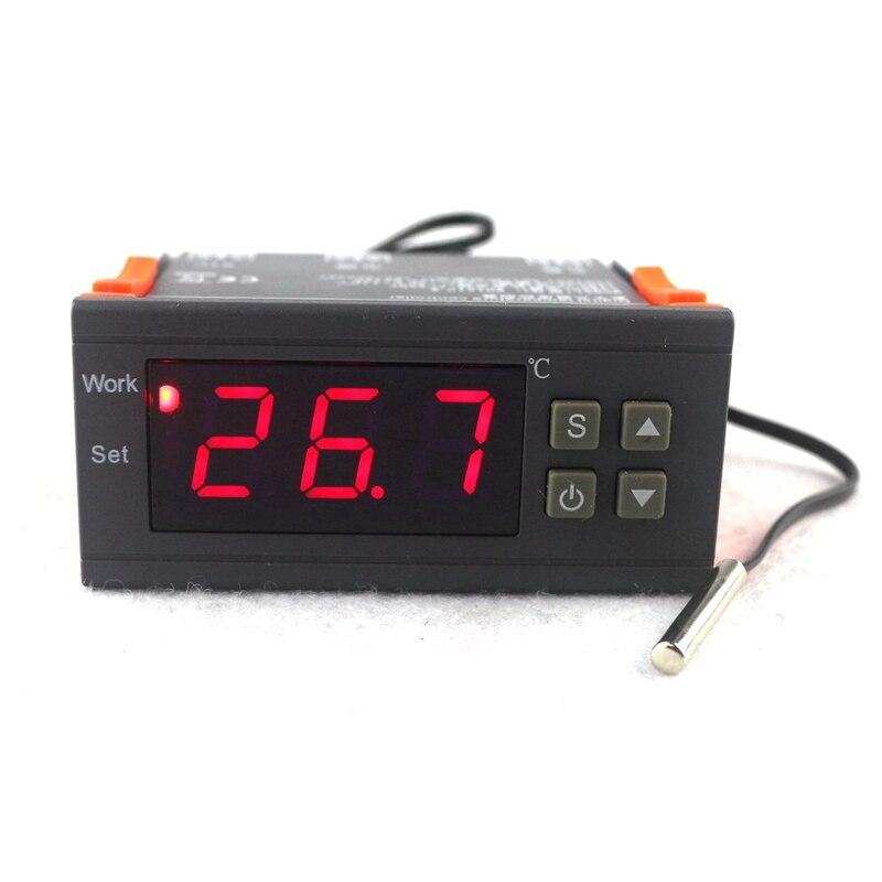 Mini Numérique Contrôleur de Température Thermostat Régulateur 10A 110 v 220 v 12 v Thermostat LED Affichage NTC Capteur Retard Protéger