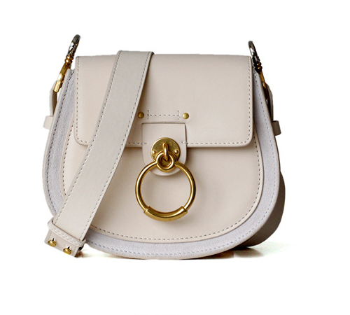 Camelia Metal Ring Bag Cross-body Genuine Suede and Cow Leather Handbag