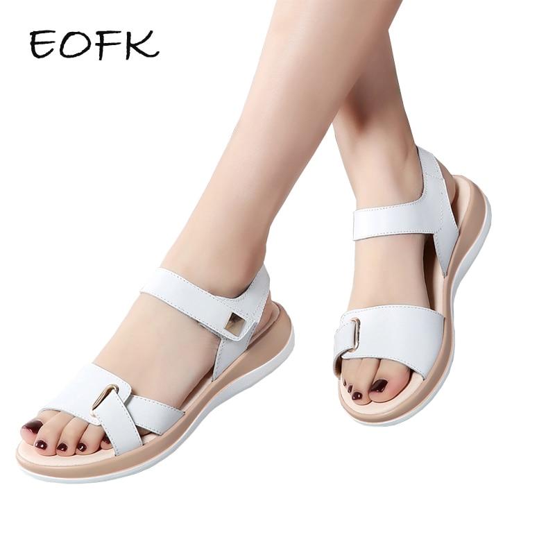 EOFK 2019 New Summer Women Sandals Flat shoes Woman Light Comfortable Leather Casual Hook Loop Sandalias