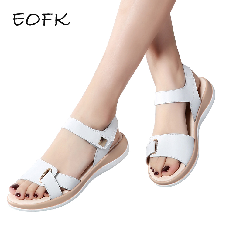 EOFK 2018 New Summer Women Sandals Flat shoes Woman Light Comfortable Leather Casual Hook Loop Sandalias mujer Women's Footwear