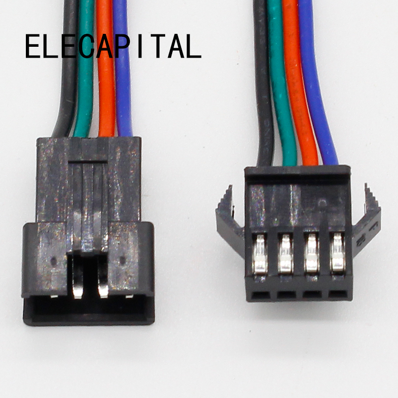 wholesale 10 pairs 4pin JST Connector Male Female Cable for SMD 5050/3528 RGB color LED Strip Wire WS2801 LPD8806 RGB LED Strip zinuo 5pcs lot 10cm rgb 4pin male connector wire cable for rgb led strip 5050 3528 male type 4 pin needle connector