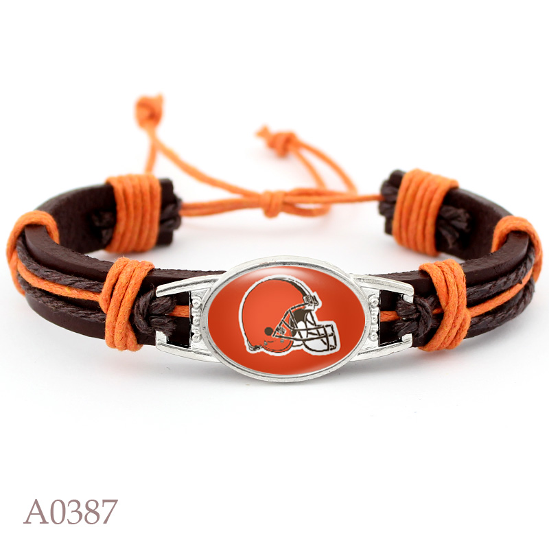 10 PCS Cleveland Browns Football Team Real Leather Bracelet Adjustable Mens Real Leather Bracelet For Men and Women 10 PCS